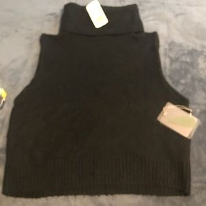 NWT Forever21 tneck crop sweater sleeveless Large